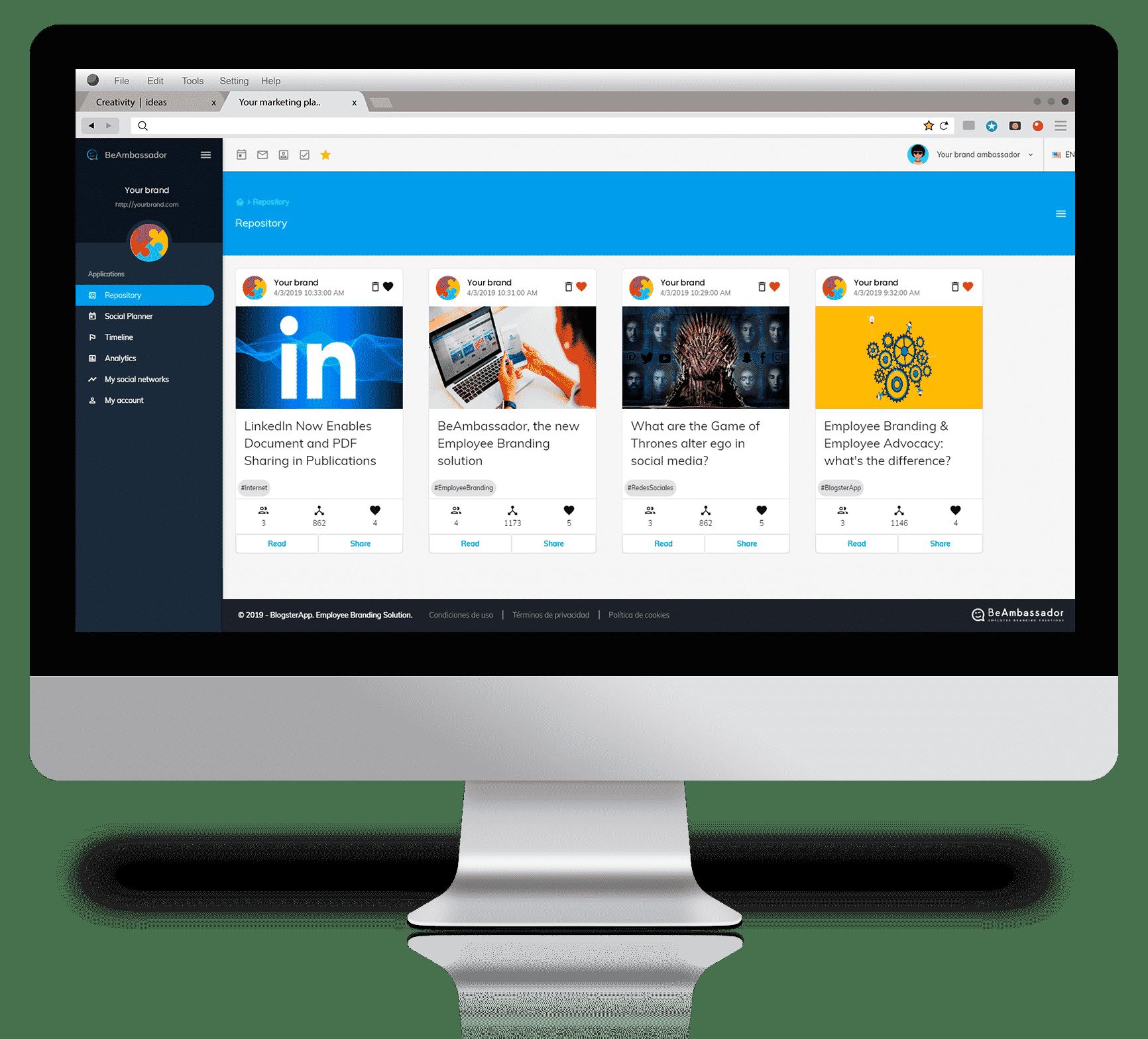 Content Library BeAmbassador Brand Ambassador Employee Branding