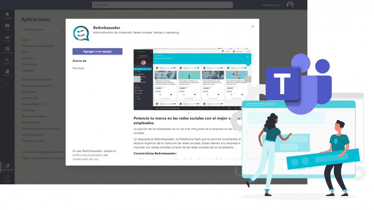 BeAmbassador se integra con Microsoft Teams